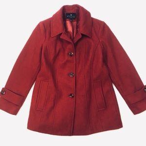 London fog red pea coat wool blend jacket